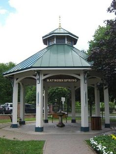 Saratoga Springs is known for its Natural mineral water springs that are located in many spots around the city like this one downtown near Congress Park