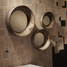 S/3 Antiqued Wall Mirrors © Two's Company
