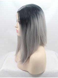 """Synthetic Lace Front 13"""" Straight Ombre/2 Tone Without Bangs Chin Length Wigs"""