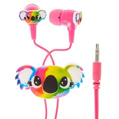 Tie-Dye Koala Earbuds and Winder | Rainbow tie-dye koala is ready to groove out to your favorite tunes! Matching winder helps keeps your earbuds safe from ending up a tangled mess.
