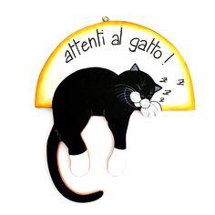 gattosa targhetta in legno dipinta a mano, personalizzabile!   www.gattosi.com
