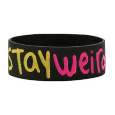 Teen Hearts Stay Weird Stay You Rubber Bracelet   Hot Topic ($4) ❤ liked on Polyvore featuring jewelry, bracelets, bracelet bangle, black bracelet, black heart jewelry, heart bangle and black bangles