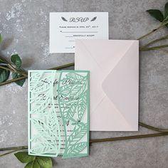 mint spring leaf inspired laser cut invitations EWWS159