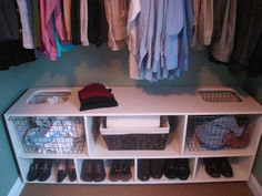13 Clever Space-Saving Solutions and Storage Ideas: A custom-built laundry sorter and storage cabinet keeps this closet in order. The laundry compartments make it easy to keep lights and darks separate. Small Closet Organization, Closet Storage, Diy Storage, Storage Spaces, Storage Ideas, Wardrobe Storage, Organization Ideas, Pax Wardrobe, Nursery Storage