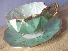 Antique green tea cup set vintage 1950s Royal by ShoponSherman, $45.00