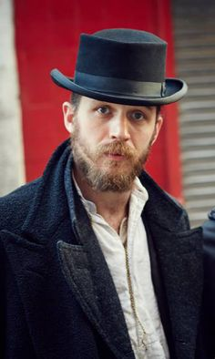 Tom Hardy on the set of Peaky Blinders, March 2014, as Camden Town gang leader Alfie Solomons.