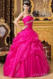 Bright pink ball gown prom dress