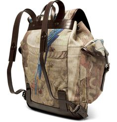 Dries Van Noten twill and leather backpack.