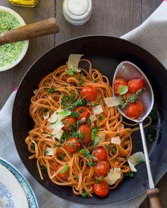 Linguine au beurre d'ail et tomates rôties | La Bonne Box