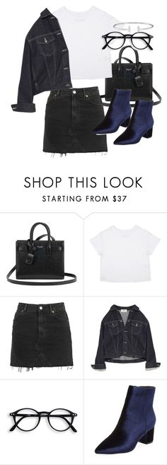 """Untitled #21164"" by florencia95 ❤ liked on Polyvore featuring Yves Saint Laurent, Topshop and Steven by Steve Madden"