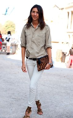 white jeans, button down, leopard clutch, strappy sandals