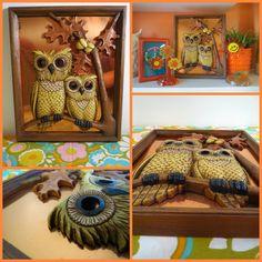 VTG 1970s Retro Pair Owls Tree Branch Copper Metal Resin Sculpture Wall Art