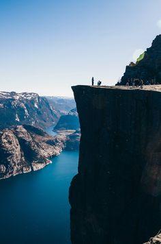 View at Preikestolen, Pulpit Rock, Lysefjorden, Norway. Famous tourist attraction.