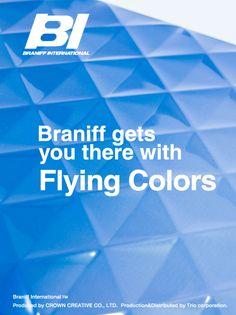 Braniff suitcase  Blue gradation color✩  By TRIO Corporation