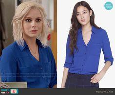 Liv's blue button down top on iZombie.  Outfit Details: http://wornontv.net/54550/ #iZombie
