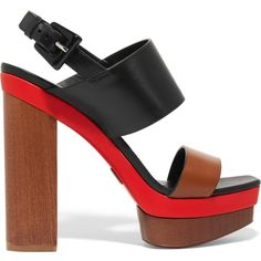 0852795e2 Heel measures approximately inches with a 2 inches platform Brown, black  and red leather Buckle-fastening slingback strap Made in Italy As seen in  THE EDIT ...
