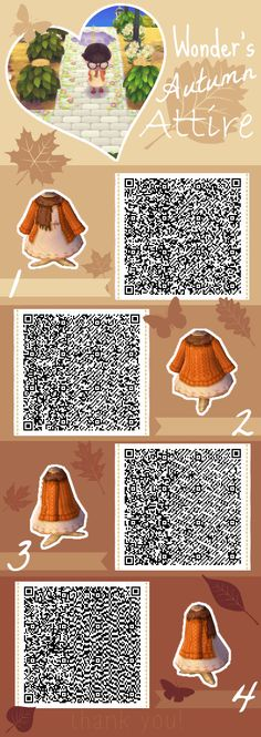 Autumn Attire - Animal Crossing New Leaf QR Code - Animal crossing New Leaf QR Codes - Welcome Haar Design Animal Crossing New Leaf Qr Codes, Animal Crossing 3ds, Animal Crossing Qr Codes Clothes, Post Animal, My Animal, Motif Acnl, Ac New Leaf, Motifs Animal, Happy Home Designer
