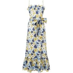 Lisa Marie Fernandez Floral-Print Maxi Dress ($725) ❤ liked on Polyvore featuring dresses, clothing /, kirna zabete, linen maxi dress, white retro dress, ruching dress, white linen dress and white floral print dress