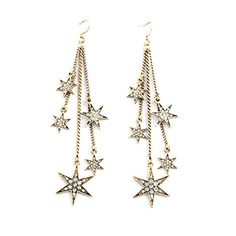 ZMJ Elegant Fashion Jewelry Vintage Stud Dangle Earings Eardrop Three Long Wire Stars JE39 *** Find out more about the great product at the image link. Note:It is Affiliate Link to Amazon.