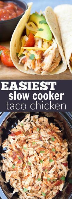 easy recipe for Slow Cooker Taco Chicken.It's a healthy weeknight dinner made simple with the help of your crock pot!An easy recipe for Slow Cooker Taco Chicken.It's a healthy weeknight dinner made simple with the help of your crock pot! Slow Cooker Huhn, Slow Cooker Tacos, Crock Pot Slow Cooker, Crock Pot Cooking, Slow Cooker Recipes, Cooking Recipes, Simple Crock Pot Recipes, Healthy Crock Pots, Gluten Free Recipes Crock Pot