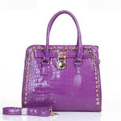 Michael Kors Hamilton Embossed Stud Medium Purple Totes - $83.99