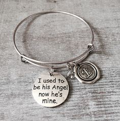 I used to be his Angel now he's mine, Memorial, Gift, Bereavement, loss of loved one, Silver Charm Bracelet, Dad, Daddy, Father,Grandfather by SAjolie, $19.75 USD