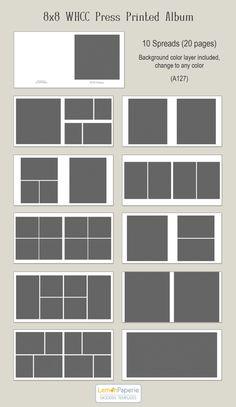 8 x 8 WHCC prensa impresa álbum plantillas a127 por LemonPaperie