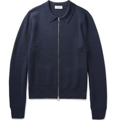 <a href='http://www.mrporter.com/mens/Designers/Enlist'>Enlist</a>'s cardigan defines the label's seasonless approach to design. Woven from naturally insulating merino wool, this zip-up has a semi-fitted cut and neat collar that gives it a smart jacket-style feel. Try it over a collared shirt or simple tee on down days.