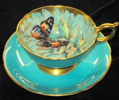 Gorgeous Vintage Teacup and Saucer in Turquoise & Gold