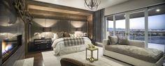 Gorgeous bedroom design featuring our Equinox chandelier #rustic #warm #cozy #interiordesgin