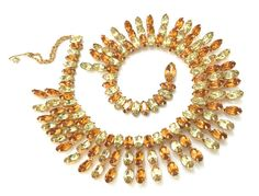 Kramer Yellow and Orange Topaz Rhinestone Collar by Vintageimagine