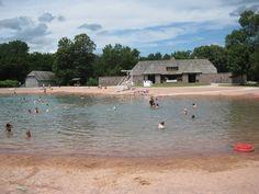 Swimming in a sand bottom pool at Flandrau State Park, Minnesota, USA