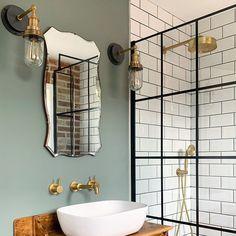 Small Bathroom Interior, Loft Bathroom, Bathroom Wall Lights, Downstairs Bathroom, Bathroom Design Small, Bathroom Layout, Bathroom Styling, Metro Tiles Bathroom, Brass Bathroom Fixtures