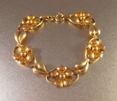 Carl Art Gold Filled Bracelet 12K GF Floral by LynnHislopJewels