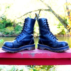 80s Steel Toe Dr MARTENS Black Leather CAP TOE Boots Chunky ...