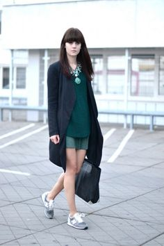 Forest green fancy yet sporty outfit with New Balance sneakers