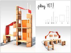 Mobilier évolutif Play Yet 3! / Pour enfant - Set 86 pièces Bois naturel / Tissu rouge - Smarin