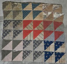 Primitive Antique Triangle Cutter Quilt PC Nice Old Fabrics w Great Patina C   eBay