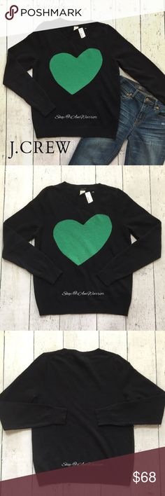 "🆕NWT J. Crew navy & green 'Heart Me' sweater Adorable dark navy blue crew neck J. Crew sweater with emerald green heart on front. Approximate unstretched measurements laying flat are: 25"" long, 19"" across bust. Could also accommodate a medium depending on how you like to wear your sweaters. Retailed at $88. Please read my bio regarding closet policies prior to any inquiries. J. Crew Sweaters Crew & Scoop Necks"