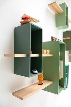 bibliothèque contemporaine en bois vert
