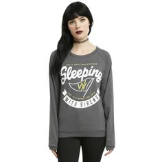 Hot Topic Sleeping With Sirens Gold Flag Girls Pullover Top ($34) ❤ liked on Polyvore featuring intimates, sleepwear and pajamas