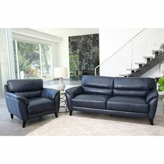 Chaise Lounge Sofa Sovana Top Grain Leather Living Room Set Navy BlueIncludes Sofa u ChairAttached Seat CushionsDetachable Back CushionsBy Abbyson