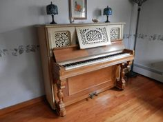 1890 Marshall & Wendall upright piano, partially painted over in the 1960's