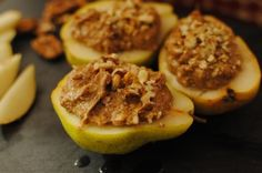 Stuffed Pears. The instructions doesn't call for baking, but I heat them up in the oven for a few minutes to get warm