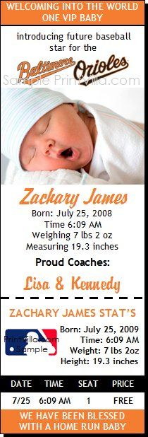 Baltimore Orioles Birth or Adoption Ticket Notice