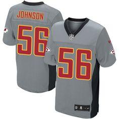 Nike Kansas City Chiefs Mens #56 Derrick Johnson Elite Grey Shadow NFL Jersey