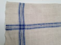 Pair Vintage European Linen Kitchen/Dish Towels Blue Stripe by 4Good4Good, $40.00