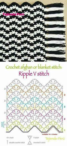 V-Stitch ripple with diagram.