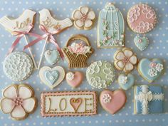 Cookies from Pretty Witty Cakes Fancy Cookies, Vintage Cookies, Iced Cookies, Cute Cookies, Royal Icing Cookies, Cookies Et Biscuits, Cupcake Cookies, Sugar Cookies, Sweet Cookies
