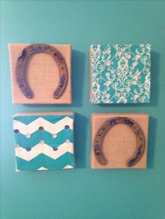 "Craft store burlap frames in a four pack. Add special horse shoe ""Prom/Posal"" message and leftover pillow fabric for custom wall art."